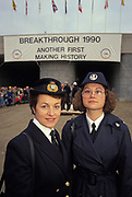 A portrait of both British and French customs officials during the ceremony to open the Channel Tunnel in Kent, on the UK side, on 1st December 1990, in Folkestone, England. It symbolises the controls on human traffic that will soon pass through the tunnel beneath the sea between England and France, the first physical link between these two land masses since the Ice Age.