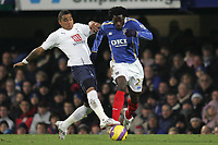 Photo: Lee Earle/Sportsbeat Images.<br /> Portsmouth v Tottenham Hotspur. The FA Barclays Premiership. 15/12/2007. Portsmouth's Benjani (R) battles with Kevin-Prince Boateng.