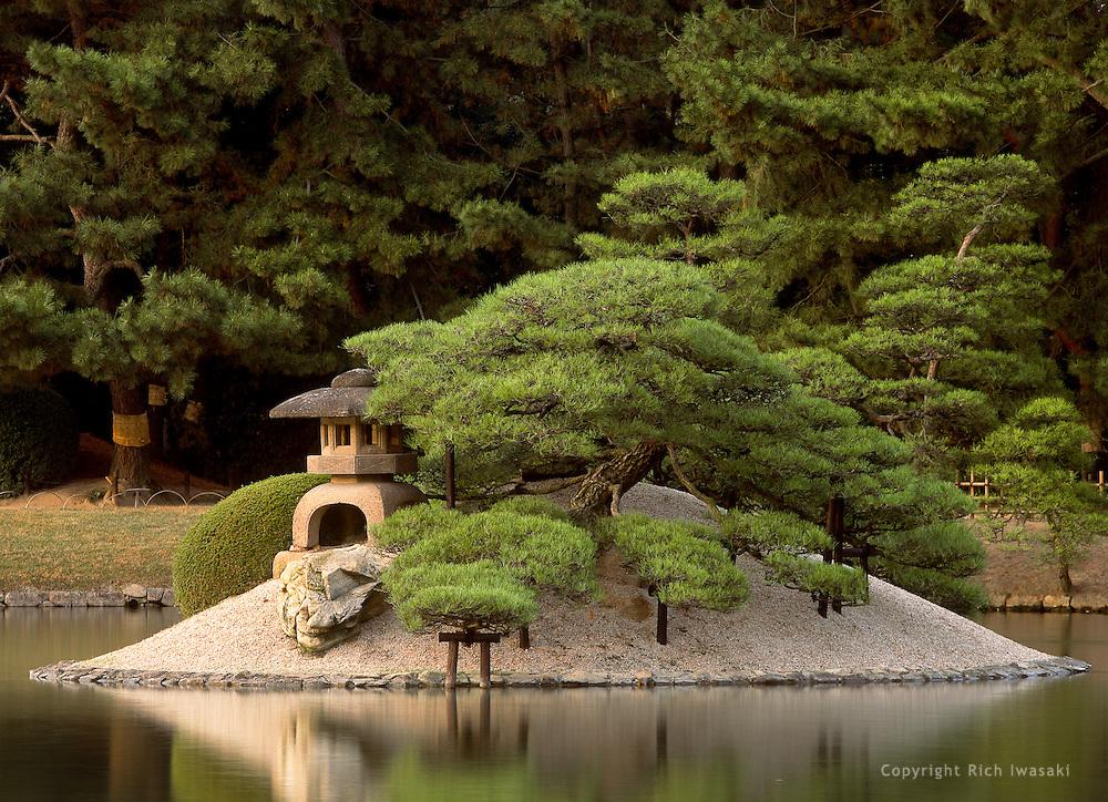 View of Jarijima (island) in Sawanoike pond, Korakuen Garden, Okayama, Japan