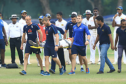 October 31, 2018 - Colombo, Sri Lanka - Sri Lankan cricketer Pathum Nissanka is carried off on stretcher after being struck on the head while fielding at short leg during tour match against England cricket team at NCC ground, Colombo, Sri Lanka. 10-31-2018  (Credit Image: © Tharaka Basnayaka/NurPhoto via ZUMA Press)