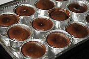Chocolate souffle dessert in tin foil