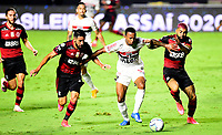 SAO PAULO, BRAZIL - FEBRUARY 25: Welington of Sao Paulo FC competes for the ball with Mauricio Isla and Gabriel Barbosa of CR Flamengo ,during the Brasileirao Serie A 2020 match between Sao Paulo FC and CR Flamengo at Morumbi Stadium on February 25, 2021 in Sao Paulo, Brazil. (Photo by MB Media/BPA)
