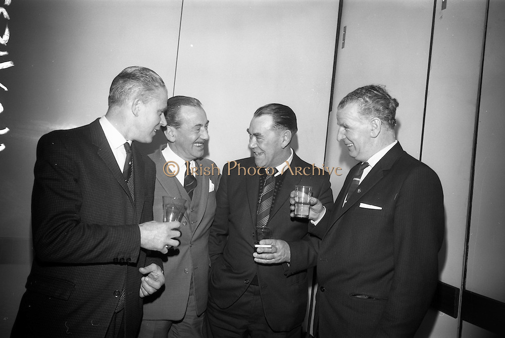 21/12/1965<br /> 12/21/1965<br /> 21 December 1965<br /> <br /> Castro Annual Lunch at Intercontinental Hotel<br /> <br /> Mr. William Evans (Foreman 31 years of service); Mr. L.A Courtney (Managing Director of Castorl Ireland); Mr. Jimmy Keely(Service Department Foreman 35 years of service) and Mr. William Teeling( Assistant Works Foreman 31 years of service) chatting at the luncheon