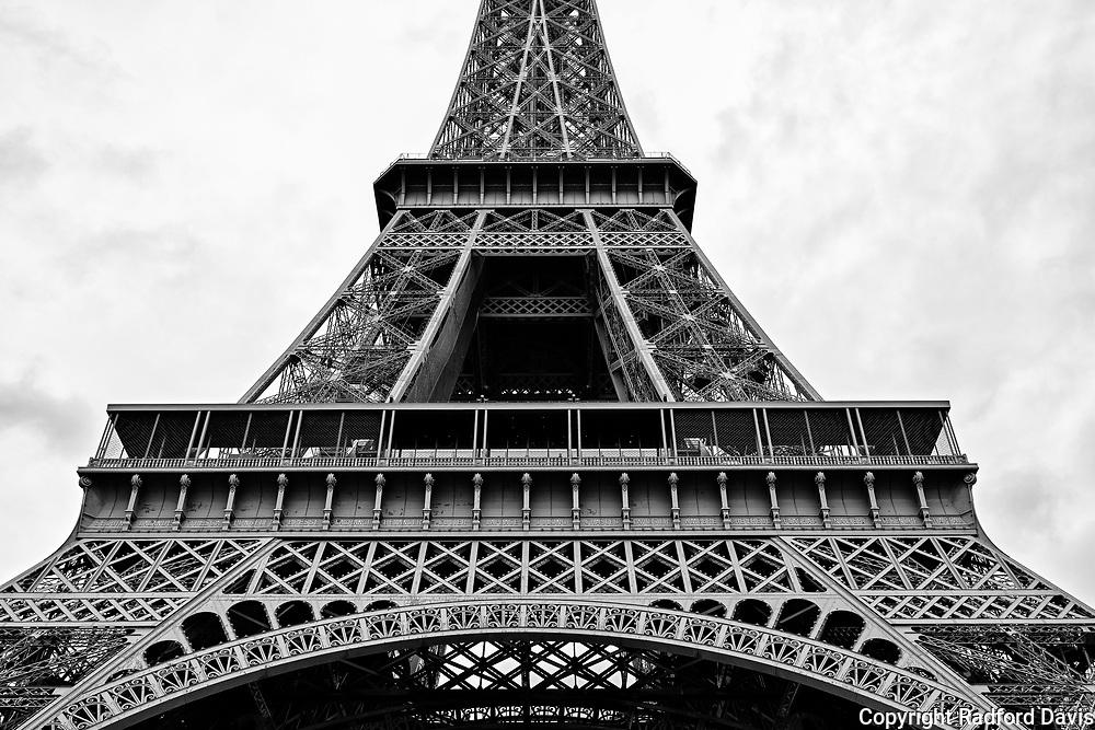 Eiffel Tower, Paris. Black and white.