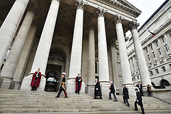 May 4, 2017 - London, London, United Kingdom - Image ©Licensed to i-Images Picture Agency. 04/05/2017. London, United Kingdom. Proclomation for summoning of a new Parliament. Parsons.. 10am UK General Election - Proclomation for summoning of a new Parliament.Colonel Geoffrey Godbold, the City of London Corporation's Common Cryer and Serjeant-at-Arms reads the proclamation for the summoning of a new Parliament on the steps of The Royal Exchange,  London,  following the UK General Election next month. .Picture by Andrew Parsons / i-Images (Credit Image: © Andrew Parsons/i-Images via ZUMA Press)