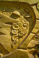 Wall war scene carvings, Cemetery of Vietnamese Martyrs in Hill A1  'Eliane 2,' Dien Bien Phu City center, Muong Thanh Valley, Dien Bien Province, Vietnam, Southeast Asia