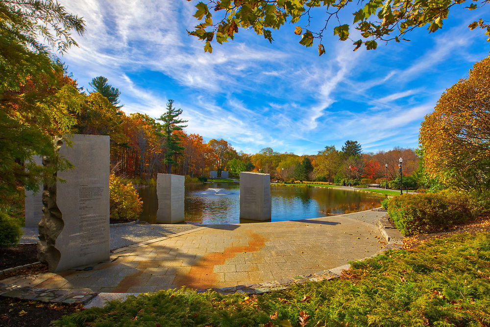 Massachusetts war landmark photography image of the Massachusetts Vietnam Veterans Memorial on Skyline Drive at Green Hill Park in Worcester, MA. This historical Vietnam Veterans monument provides a place of dignity and quietude in a natural location for reflection, teaching and learning. The memorial is designed in three sections called places, place of flags, place of words and place of names.<br /> <br /> New England war memorial photo images are available as museum quality photography prints, canvas prints, acrylic prints, wood prints or metal prints. Fine art prints may be framed and matted to the individual liking and decorating needs:<br /> <br /> https://juergen-roth.pixels.com/featured/worcester-massachusetts-vietnam-veterans-memorial-juergen-roth.html<br /> <br /> Good light and happy photo making!<br /> <br /> My best,<br /> <br /> Juergen<br /> Prints: http://www.rothgalleries.com<br /> Photo Blog: http://whereintheworldisjuergen.blogspot.com<br /> Instagram: https://www.instagram.com/rothgalleries<br /> Twitter: https://twitter.com/naturefineart<br /> Facebook: https://www.facebook.com/naturefineart