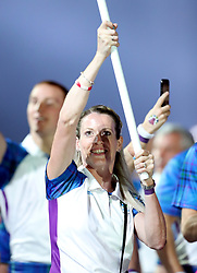 Scotland's flag bearer Eilidh Doyle leads out her team during the Opening Ceremony for the 2018 Commonwealth Games at the Carrara Stadium in the Gold Coast, Australia.