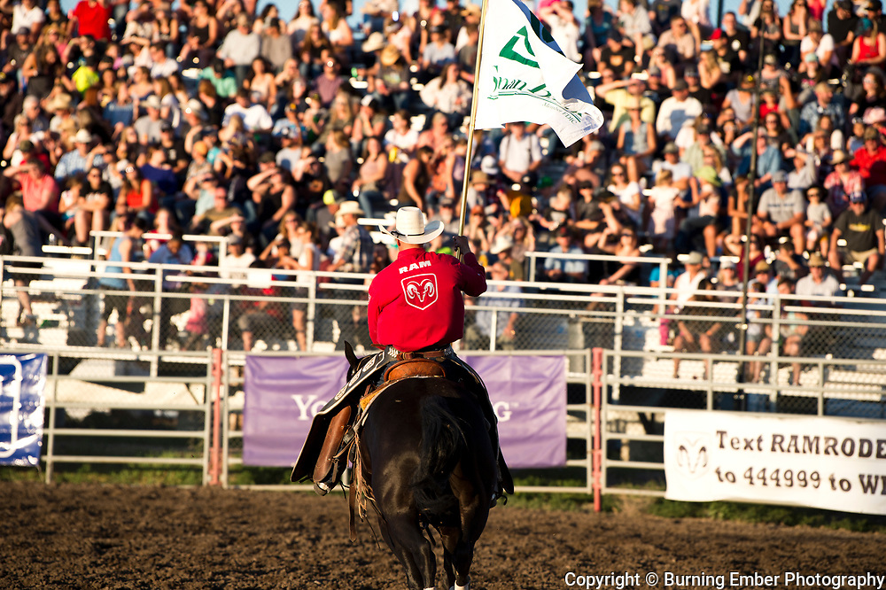 Sponsor Flag at the Helena MT Last Chance Stampede 1st perf July 25th 2019.  Photo by Josh Homer/Burning Ember Photography.  Photo credit must be given on all uses.