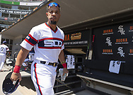 CHICAGO - JUNE 02:  Jose Abreu #79 of the Chicago White Sox looks on against the Cleveland Indians on June 2, 2019 at Guaranteed Rate Field in Chicago, Illinois.  (Photo by Ron Vesely)  Subject:  Jose Abreu
