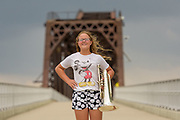 Catherine Dorman, 15, a freshman at Jeffersonville High School, on the Big Four Bridge in Jeffersonville, Ind., enjoys tennis, is a community volunteer and also plays baritone in the low bass section of the Jeffersonville High School marching band. July 27, 2016