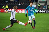 TRONDHEIM, NORWAY - NOVEMBER 02, 2017. UEFA Europa League, round 4: Rosenborg BK (Norway) 1-1 Zenit St Petersburg (Russia). Rosenborg's Morten Konradsen (L) and Zenit St Petersburg's Domenico Criscito (R).