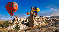 Pictures & images of hot air balloons over the fairy chimney pillar rock formations  near Goreme, Cappadocia, Nevsehir, Turkey .<br /> <br /> If you prefer to buy from our ALAMY PHOTO LIBRARY  Collection visit : https://www.alamy.com/portfolio/paul-williams-funkystock/cappadocia-balloons.html<br /> <br /> Visit our TURKEY PHOTO COLLECTIONS for more photos to download or buy as wall art prints https://funkystock.photoshelter.com/gallery-collection/3f-Pictures-of-Turkey-Turkey-Photos-Images-Fotos/C0000U.hJWkZxAbg