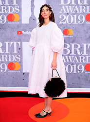 Laura Jackson attending the Brit Awards 2019 at the O2 Arena, London.