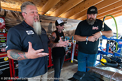 Pat Jansen, Savannah Rose and Joe Mielke on the Grease and Gears stage at the Iron Horse Saloon during the 78th annual Sturgis Motorcycle Rally. Sturgis, SD. USA. Thursday August 9, 2018. Photography ©2018 Michael Lichter.