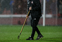 A Sheffield United groundsman tends to the pitch<br /> <br /> Photographer Rich Linley/CameraSport<br /> <br /> The Premier League - Sheffield United v West Ham United - Friday 10th January 2020 - Bramall Lane - Sheffield <br /> <br /> World Copyright © 2020 CameraSport. All rights reserved. 43 Linden Ave. Countesthorpe. Leicester. England. LE8 5PG - Tel: +44 (0) 116 277 4147 - admin@camerasport.com - www.camerasport.com