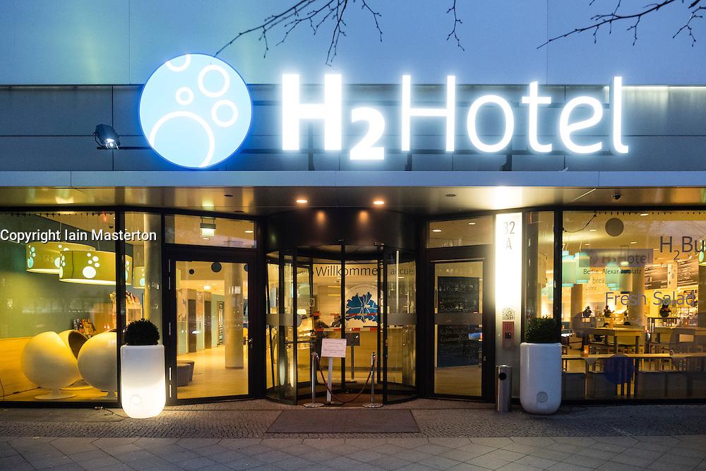 Exterior of budget H2Hotel at Alexanderplatz in Berlin Germany