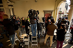 © London News Pictures. 28/03/2013 . Windsor, UK. Media at the entrance to the Guild Hall in Windsor, Berkshire during the opening of an inquest into the death of russian oligarch Boris Berezovsky. Boris Berezovsky was found lying on a bathroom floor of his home in Ascot, Berkshire with a ligature around his neck.Photo credit : Ben Cawthra/LNP