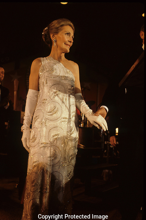 First Lady Nancy Reagan in her Inaugural gown January 20, 1981....Photograph by Dennis Brack bB22