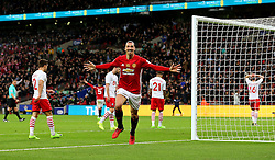 Zlatan Ibrahimovic celebrates after scoring his sides third goal  - Mandatory by-line: Matt McNulty/JMP - 26/02/2017 - FOOTBALL - Wembley Stadium - London, England - Manchester United v Southampton - EFL Cup Final