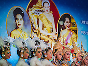 12 AUGUST 2016 - BANGKOK, THAILAND:      Thai students participate in a show to honor Queen Sirikit of Thailand. Thais celebrated the Queen's birthday Friday. Queen Sirikit of Thailand, was born Mom Rajawongse Sirikit Kitiyakara on 12 August 1932. She married  Bhumibol Adulyadej, King of Thailand (Rama IX) in 1950. He is the longest serving monarch in the world and she is longest serving consort of a monarch. Her birthday, like the King's Birthday (which falls on Dec. 5),  is a national holiday in Thailand. Her birthday, August 12, is also celebrated as Mother's Day in Thailand.    PHOTO BY JACK KURTZ