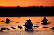 Olympics 2000 - Penrith Lakes, NSW...GBR M4- embark on a early morning training session on semi-final day Rowing Course: Penrith Lakes, NSW. [Mandatory Credit Peter Spurrier, Intersport Images] Sunrise, Sunsets, Silhouettes Sydney International Regatta Centre (SIRC) 2000 Olympic Rowing Regatta00085138.tif