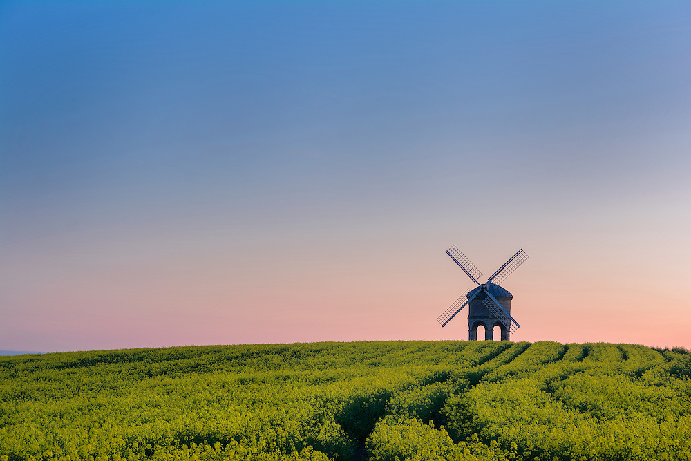 Chesterton Windmill in Warwickshire at sunset.