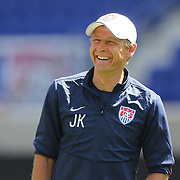 Head Coach Jurgen Klinsmann shares a joke with players during the US Mens National Team training at Red Bull Arena in preparation for Sunday's game against Turkey as they prepare for the 2014 FIFA World Cup. Red Bull Arena, Harrison, New Jersey, USA. 30th May 2014. Photo Tim Clayton