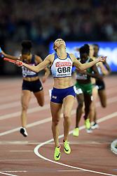 Emily Diamond of Great Britain celebrates a silver medal - Mandatory byline: Patrick Khachfe/JMP - 07966 386802 - 13/08/2017 - ATHLETICS - London Stadium - London, England - Men's 4x400m Metres Relay Final - IAAF World Championships