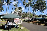 Drink stall at the Waikiki Shell ampitheater, with Diamond Head in background. Waikiki, Hawaii