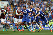 plenty of holding on in the box as Ben Mee of Burnley (l), Dean Marney of Burnley, Michael Keane of Burnley hold Diego Costa of Chelsea, Gary Cahill of Chelsea and John Terry, the Chelsea captain before a corner is taken. Premier league match, Chelsea v Burnley at Stamford Bridge in London on Saturday 27th August 2016.<br /> pic by John Patrick Fletcher, Andrew Orchard sports photography.