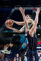 Movistar Estudiantes Dario Brizuela and Donar Groningen Evan Bruinsma during Basketball Champions League match between Movistar Estudiantes and Donar Groningen at Wizink Center in Madrid, Spain October 02, 2017. (ALTERPHOTOS/Borja B.Hojas)