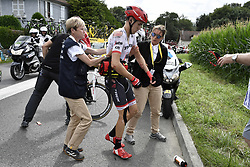 July 12, 2017 - Pau, FRANCE - Austrian Michael Gogl of Trek-Segafredo pictured after a crash during the 11th stage of the 104th edition of the Tour de France cycling race, 203,5km from Eymet to Pau, France, Wednesday 12 July 2017. This year's Tour de France takes place from July first to July 23rd. BELGA PHOTO POOL JEFF PACHOUD (Credit Image: © Pool Jeff Pachoud/Belga via ZUMA Press)