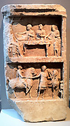 Marble grave relief with a funerary banquet and departing warriors. Greek, Hellenistic 2nd century B.C.