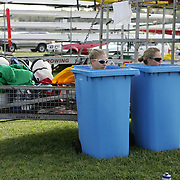 Rowers during a recovery session in bins full of Ice during the Australian Rowing Championships, Penrith. NSW, Australia.