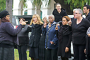 "19 January 2015-Santa Barbara, CA: Inspirational Singing by the Inner Light Community Gospel Choir, Dauri Kennedy, Director.  Santa Barbara Honors Dr. Martin Luther King Jr. with a Day of Celebration.  The Santa Barbara MLK, Jr. Committee chose ""Drum Majors for Justice"" as it's theme for the day which included a Pre-March Program in De la Guerra Plaza followed by a march up State Street to the Arlington Theater for speakers, music and poetry.  The program concluded with a Community Lunch at the First United Methodist Church in Santa Barbara.  Photo by Rod Rolle"