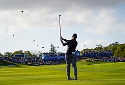 Auchterarder, Scotland, UK. 15 September 2019. Sunday final day at 2019 Solheim Cup on Centenary Course at Gleneagles. Pictured; Marina Alex of USA hits her approach shot to the 18th green. She lost the hole to Suzann Pettersen and this. Match gave Europe victory in the Solheim Cup. Iain Masterton/Alamy Live News