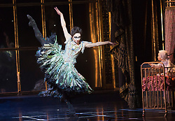 """© Licensed to London News Pictures. 07/12/2012. London, England. Kate Lyons as Hibernia asthe Fairy of Rebirth. World premiere of Matthew Bourne's """"Sleeping Beauty"""" at Sadler's Wells. Running from 4 December 2012 to 26 January 2013. Dancers of this section: Christopher Marney, Mari Kamata, Kate Lyons, Joe Walkling, Sophia Hurdley and Liam Mower. Photo credit: Bettina Strenske/LNP"""