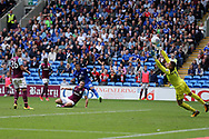 John Terry, the Aston Villa captain (l) looks on as Nathaniel Mendez-Laing of Cardiff city © scores his teams 3rd goal  EFL Skybet championship match, Cardiff city v Aston Villa at the Cardiff City Stadium in Cardiff, South Wales on Saturday 12th August 2017.<br /> pic by Andrew Orchard, Andrew Orchard sports photography.