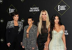 Kris Jenner, Kourtney Kardashian, Kim Kardashian and Khloe Kardashian at the 2019 E! People's Choice Awards held at the Barker Hangar in Santa Monica, USA on November 10, 2019.