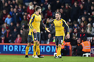 Arsenal Forward, Olivier Giroud (12) and Arsenal Forward, Lucas Perez (9) celebrate after Arsenal Forward, Olivier Giroud (12) scores a goal 3-3 during the Premier League match between Bournemouth and Arsenal at the Vitality Stadium, Bournemouth, England on 3 January 2017. Photo by Adam Rivers.