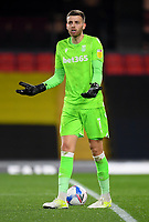 Football - 2020 / 2021 Sky bet Championship - Watford vs Stoke City - Vicarage Road<br /> <br /> Stoke City's Angus Gunn protests after Watford's Tom Cleverley scores.<br /> <br /> COLORSPORT/ASHLEY WESTERN