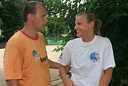 Vratar Gorazd Skof  in Barbara Varlec na obisku na otroski rokometni akademiji Urosa Z. v Dolenjskih toplicah, 27. junija 2008, Dolenjske toplice, Slovenija. (Photo by Vid Ponikvar / Sportal Images)
