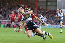 Bristol Rugby's Charlie Amesbury scores a try - Photo mandatory by-line: Dougie Allward/JMP - Mobile: 07966 386802 - 17/04/2015 - SPORT - Rugby - Bristol - Ashton Gate - Bristol Rugby v Jersey - Greene King IPA Championship