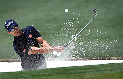 Adam Scott hits his ball from a sand trap along the 2nd green during the third round of the Masters Tournament at Augusta National Golf Club in Augusta, Ga., on Saturday, April 8, 2017. (Photo by Jeff Siner/Charlotte Observer/TNS) *** Please Use Credit from Credit Field ***