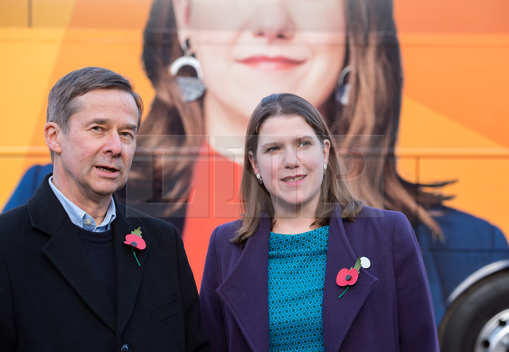 © Licensed to London News Pictures. 07/11/2019. Midsomer Norton, Bath and North East Somerset, UK. General Election 2019; NICK COATES, Liberal Democrat candidate for North East Somerset, greets JO SWINSON, Leader of the Liberal Democrats, on a visit to Free Rangers, a 57-place Forest School Nursery that offers childcare from birth to five years. The Lib Dems aim to highlight the threat to UK nurseries, pre-schools and childminders with the risk of closures due to Government cuts and ongoing under-funding. Photo credit: Simon Chapman/LNP.