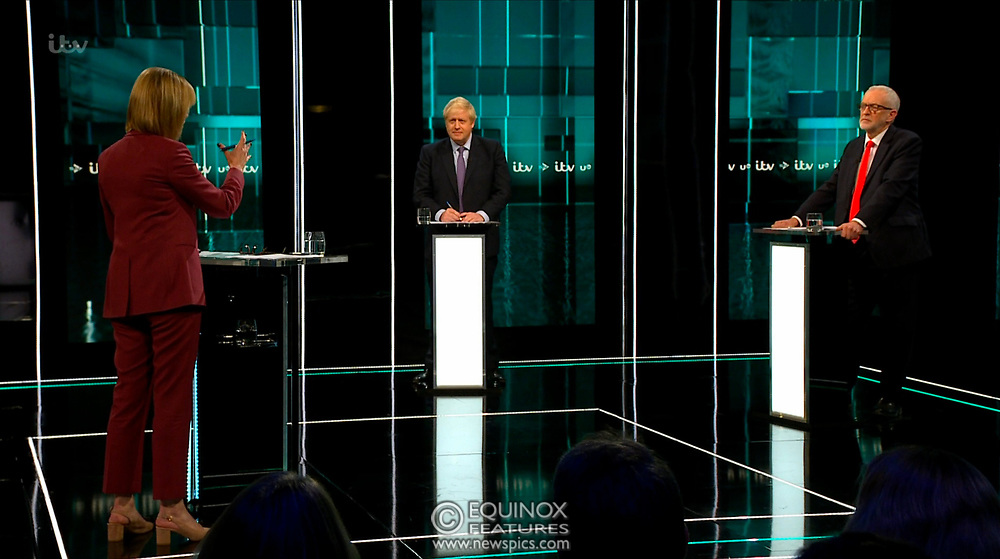 Broadcast TV, United Kingdom - 19 November 2019<br /> Labour leader Jeremy Corbyn and Prime Minister Boris Johnson debate live on ITV tonight as part of the 2019 general election campaign.<br /> (supplied by: Supplied by: EQUINOXFEATURES.COM)<br /> Picture Data:<br /> Contact: Equinox Features<br /> Date Taken: 20191119<br /> Time Taken: 212210<br /> www.newspics.com
