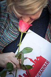 10 April 2017, Stockholm, Sweden: Three days after a lorry was driven into a store in central Stockholm, killing at least four people and injuring many more, an interreligious service was held at Sergels torg in central Stockholm, to commemorate the victims of violence, and to pray together, for a future of compassion and peace together. The event was attended by representatives of a range of religions present in Stockholm and Sweden as a whole. Here, Camilla Lif from the Katarina Parish of Church of Sweden. Oral consent obtained for use by Church of Sweden and the World Council of Churches.