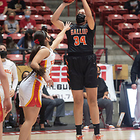 Gallup Bengal Jordan Joe (34) lines up for a jump shot against the Espanola Valley Sundevils during the New Mexico Class 4A girls basketball championship game at The Pit in Albuquerque Saturday. The Bengals defeated the Sundevils 63-51 to become New Mexico Class 4A state champions.