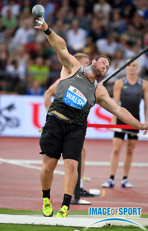 Sep 1, 2015; Zurich, SWITZERLAND; Tomas Walsh (NZL) wins the shot put at 72-10 (22.20m) at the 2016 Weltklasse Zurich during an IAAF Diamond League meeting at Letzigrund Stadium. Photo by Jiro Mochizuki
